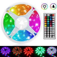 TSV 16.4ft/5M 300LED RGB Muliticolor Changing Flexible LED Rope Lights TV Backlight Tape Strip Light Kit Waterproof with 44Key IR Remote Control, 8-brightness Level, Memory function, 12V Power Supply