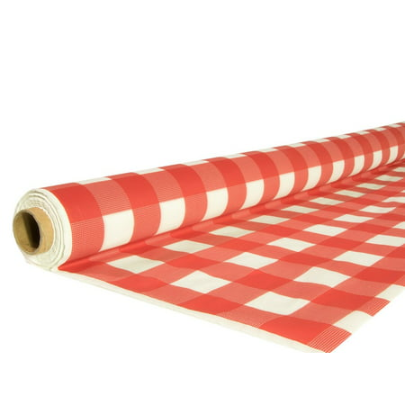 Exquisite 40 in X 100 ft Plastic Red Gingham Tablecloth Roll - Disposable Red Checkered Table Cover Roll (Blue Gingham Tablecloth Plastic)