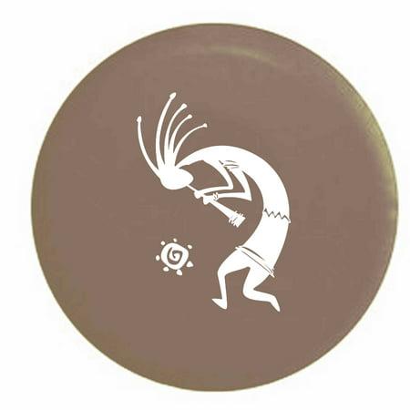 Kokopelli Flute Tribal Sun Trailer Spare Tire Cover Vinyl Tan Whiteink 27 5 In