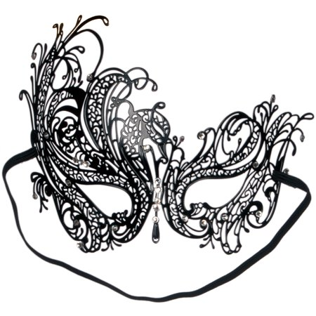 Loftus Sultry Jewel Metal Masquerade Laser Cut Half Mask, One-Size, Black](Black Cat Mask Marvel)