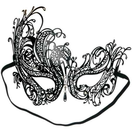 Loftus Sultry Jewel Metal Masquerade Laser Cut Half Mask, One-Size, Black