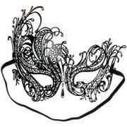 Loftus Sultry Jewel Metal Masquerade Laser Cut Half Mask One Size Black