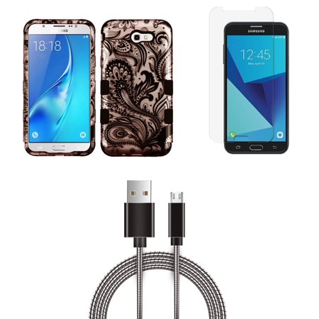 Samsung Galaxy J7 Sky Pro 4G LTE - Bundle: TUFF Series [Military Grade - MIL-STD 810G-516.6] Case (Paisley Flower), Glass Screen Protector, Metal [Aluminum Connectors] USB Cable, Atom Cloth