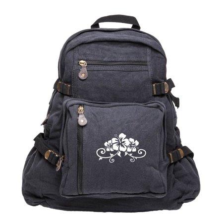 Hawaiian Hibiscus Flower Army Sport Heavyweight Canvas Backpack