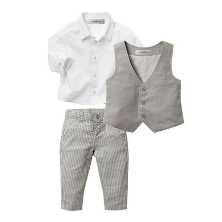 StylesILove Infant Baby Kid Boy Formal Wear Shirt, Vest and Pants 3-pc (120/4-5