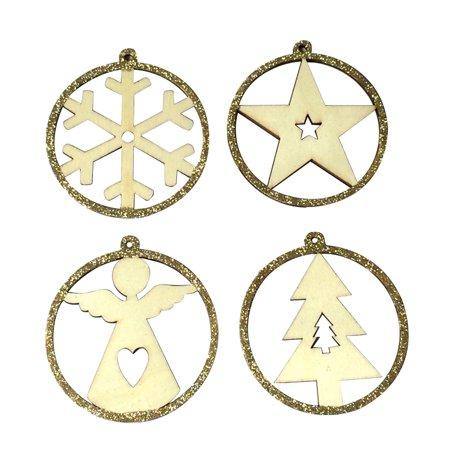 4pcs Glitter Five-pointed Star Angel Snowflake Christmas Tree Shaped Pendants Christmas Party Decor Ornaments Kit