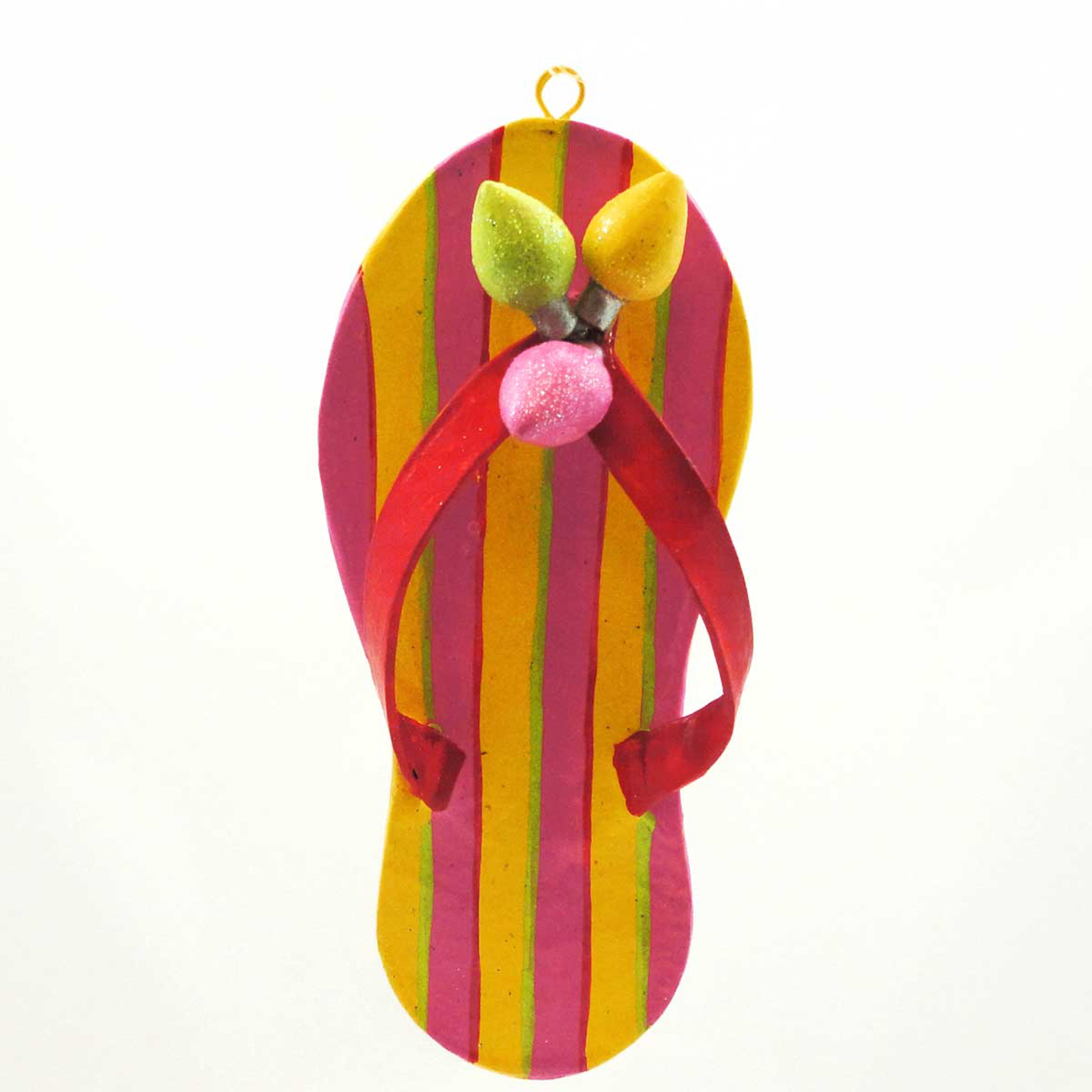 Holiday Ornament FLIP FLOP ORNAMENT Mixed Media Shoe Beach Summer 68820 YELLOW