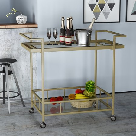 - Noble House Angela Indoor Industrial Iron and Glass Bar Cart, Gold