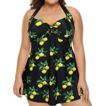 HDE Lemon Women's One Piece Swimdress Plus Size Tummy Control Boy Short Swimsuit