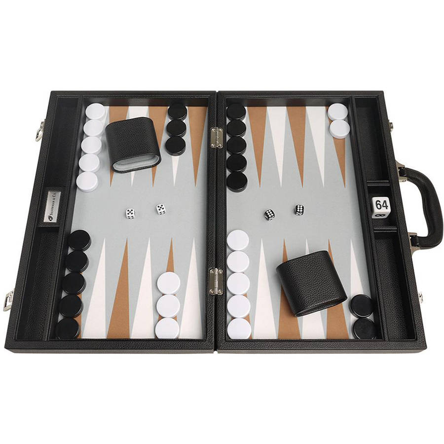 """16"""" Premium Backgammon Set, Black with White and Rum Points by Silverman & Co"""