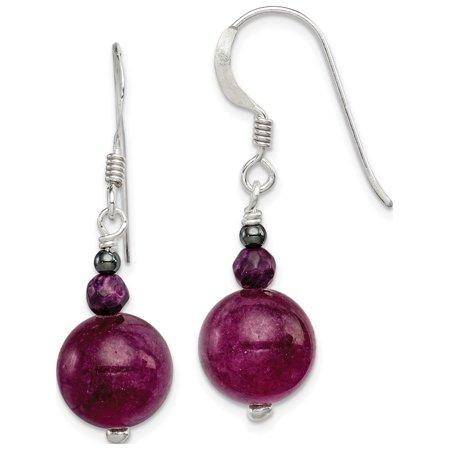 925 Sterling Silver Purple Coral, Hematite and Purple Jade (11x35mm) Earrings Jade Purple Earrings