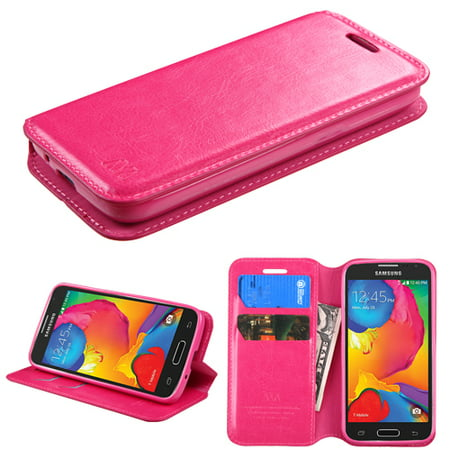Samsung Galaxy Avant G386T Phone Case Premium Leather Flip Wallet Cover Stand Pouch Book Folio with Credit Card Slots Holder HOT PINK ()
