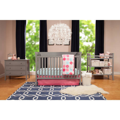 Baby Mod Ava Crib and 3 Drawer Dresser Set with BONUS Changing Table, Gray