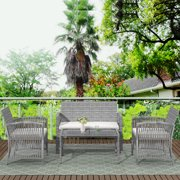 Rattan Patio Furniture Sets Clearance, 4 Piece Outdoor Conversation Sets, Wicker Bar Set with 2 Arm Chairs,1 Loveseat & Coffee Table, Patio Dining Sets for Backyard Porch Poolside Garden, Gray, W7782