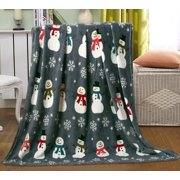 """Let It Snow Collection Holiday Microfleece Throw Blanket (50"""" x 60"""") - Frosty the Snowman"""