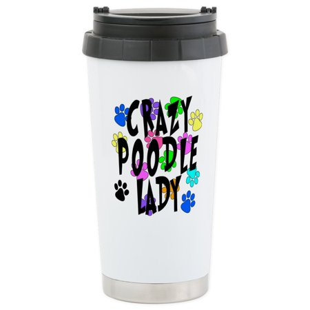 CafePress - Crazy Poodle Lady Stainless Steel Travel Mug - Stainless Steel Travel Mug, Insulated 16 oz. Coffee (Poodle Travel Mug)