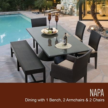 Napa Rectangular Outdoor Patio Dining Table With 4 Chairs And 1 Bench Color Wheat