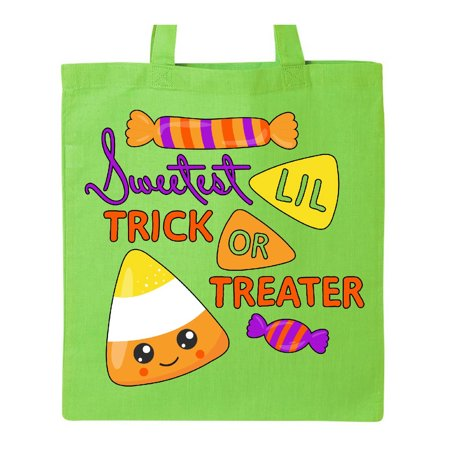 Sweetest Little Trick or Treater-cute candy corn for Halloween Tote Bag Lime Green One - Lime Green Halloween Lights
