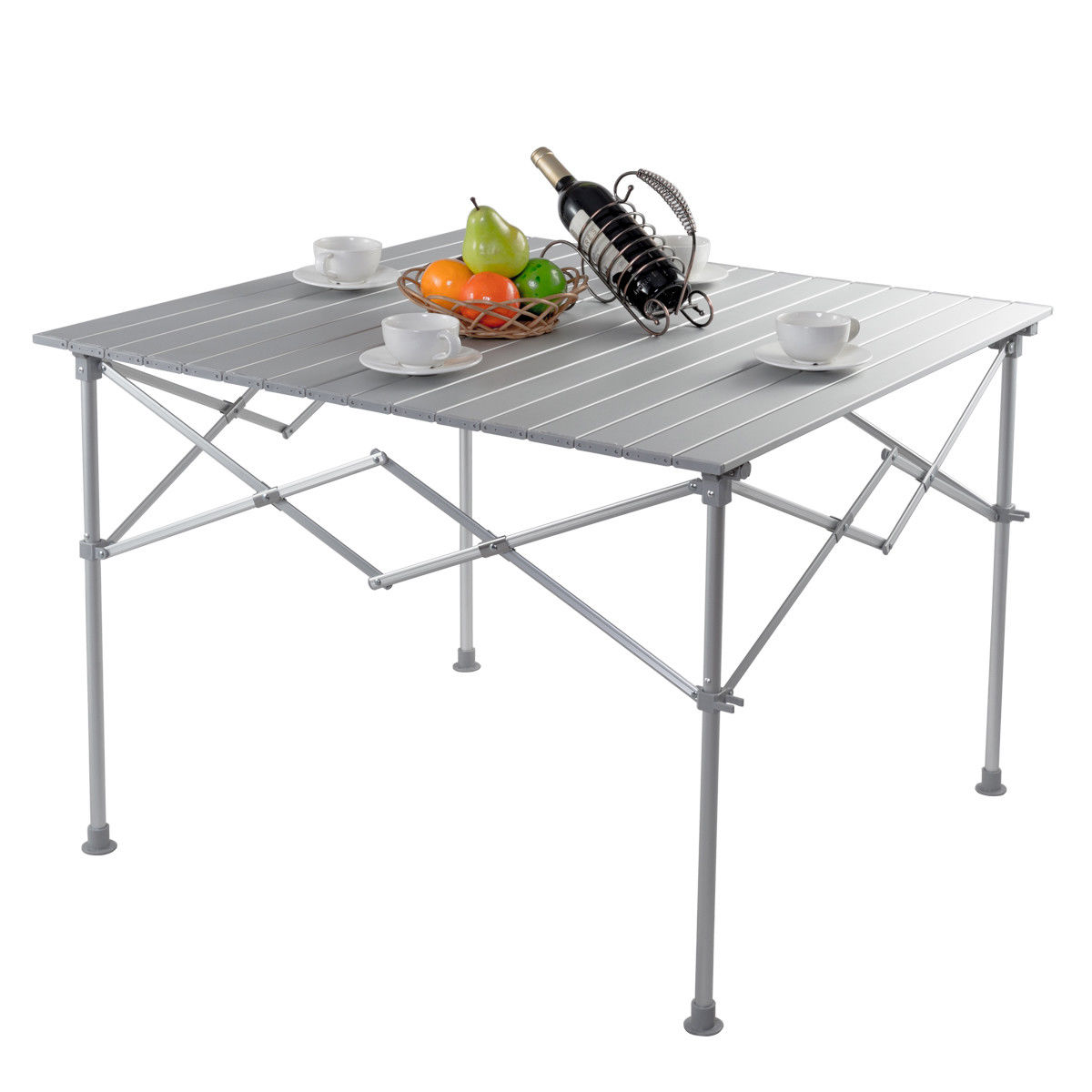 Gymax Aluminum Folding Picnic Camping Table Lightweight Roll-Up In/Outdoor Storage Bag