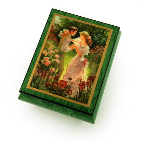 Alluring Forest Green Ercolano Music Jewelry Box -