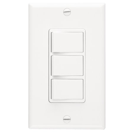 Broan P66W White 3-Function Fan Control Wall Switch White Control Switch