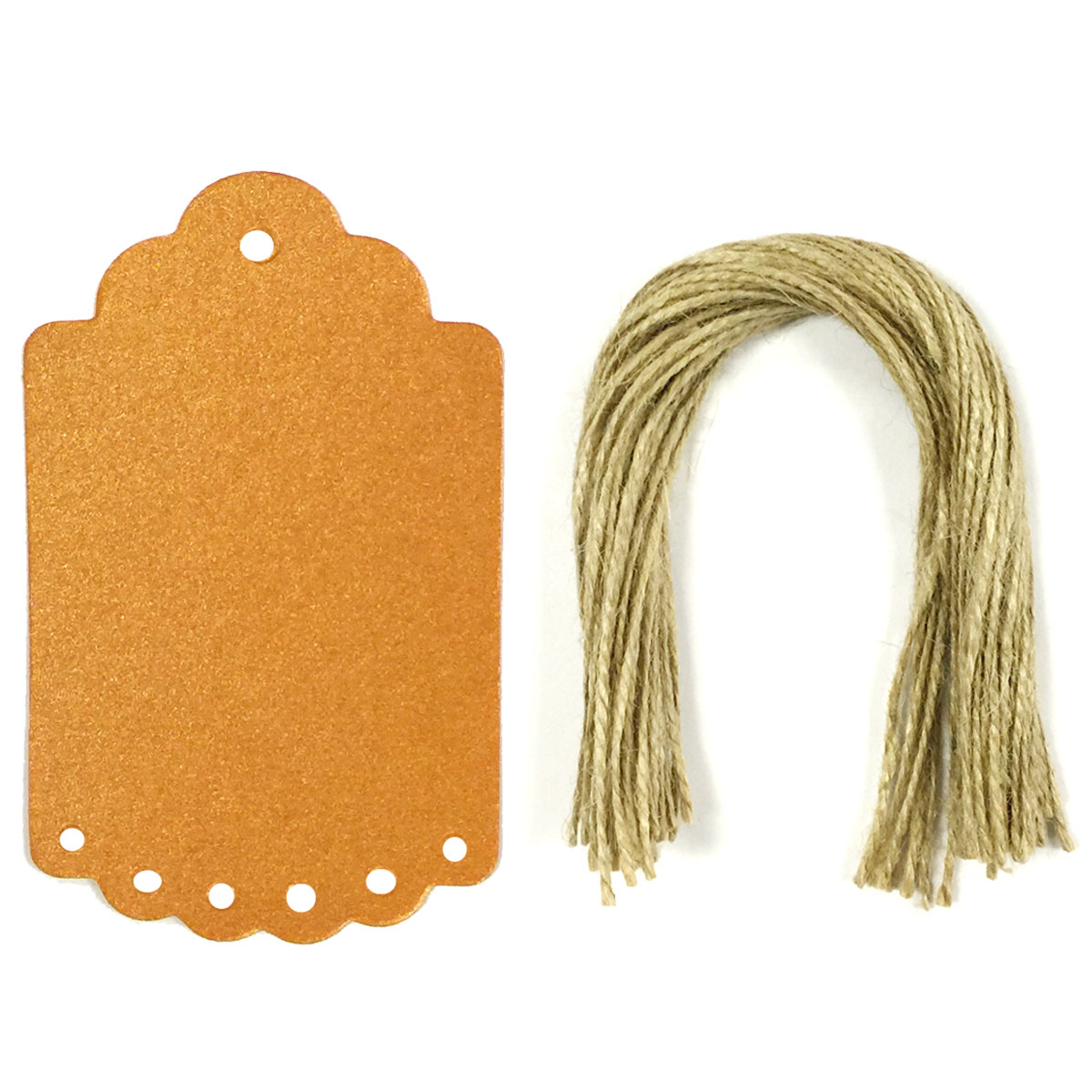 Wrapables® 50 Gift Tags/Kraft Hang Tags with Free Cut Strings for Gifts, Crafts & Price Tags, Large Scalloped Edge (Shimmer Orange)