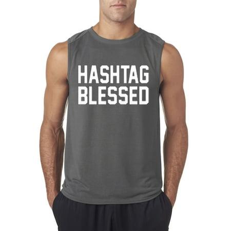 Trendy USA 395 - Men's Sleeveless Hashtag Blessed Meme Kanye Drake Medium Charcoal - Drake As Kanye For Halloween