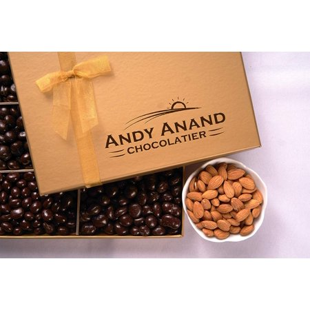 Andy Anand's Dark Chocolate covered Almonds 1 lbs, & Greeting Card, for Birthday, Valentine Day, Gourmet Christmas Holiday Food Gifts, Thanksgiving Halloween, Mothers day, Get Well Basket, Unique - Halloween Titles For Food