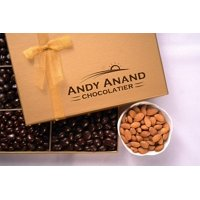Andy Anand's Dark Chocolate covered Almonds 1 lbs, & Greeting Card, for Birthday, Gourmet Christmas Food Gifts, Thanksgiving Halloween, Mothers day, Get Well Basket