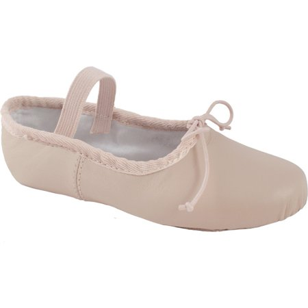 Pink Soft Leather - Girls Pink Soft Leather Split Outsole Strap Ballet Shoes 12.5-4 Kids