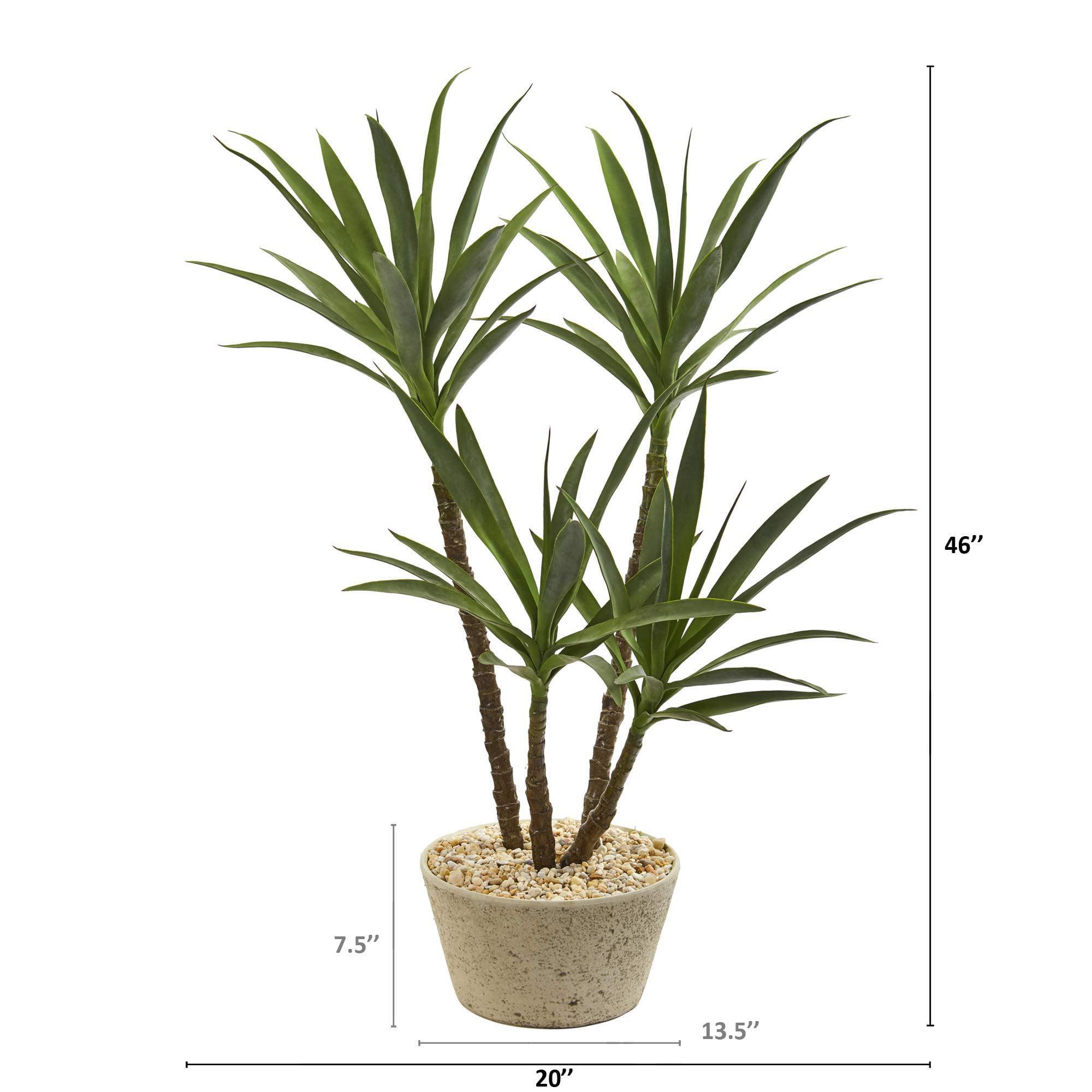 Nearly Natural 46 Inch Yucca Artificial Plant In White Planter Walmart Com Walmart Com