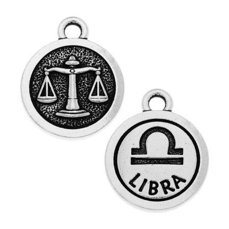 TierraCast Zodiac Charm Collection, Libra Symbol 19x15.25mm, 1 Piece, Antiqued Silver