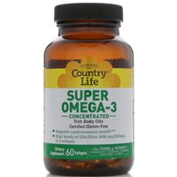 Country Life Super Omega-3 Concentrated Gluten-Free Fish Oil, 400mg EPA + 200mg DHA, 60ct