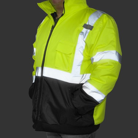 High Visibility Neon Green Safety Coat Jacket with Reflective Strips ANSI ISEA, Large