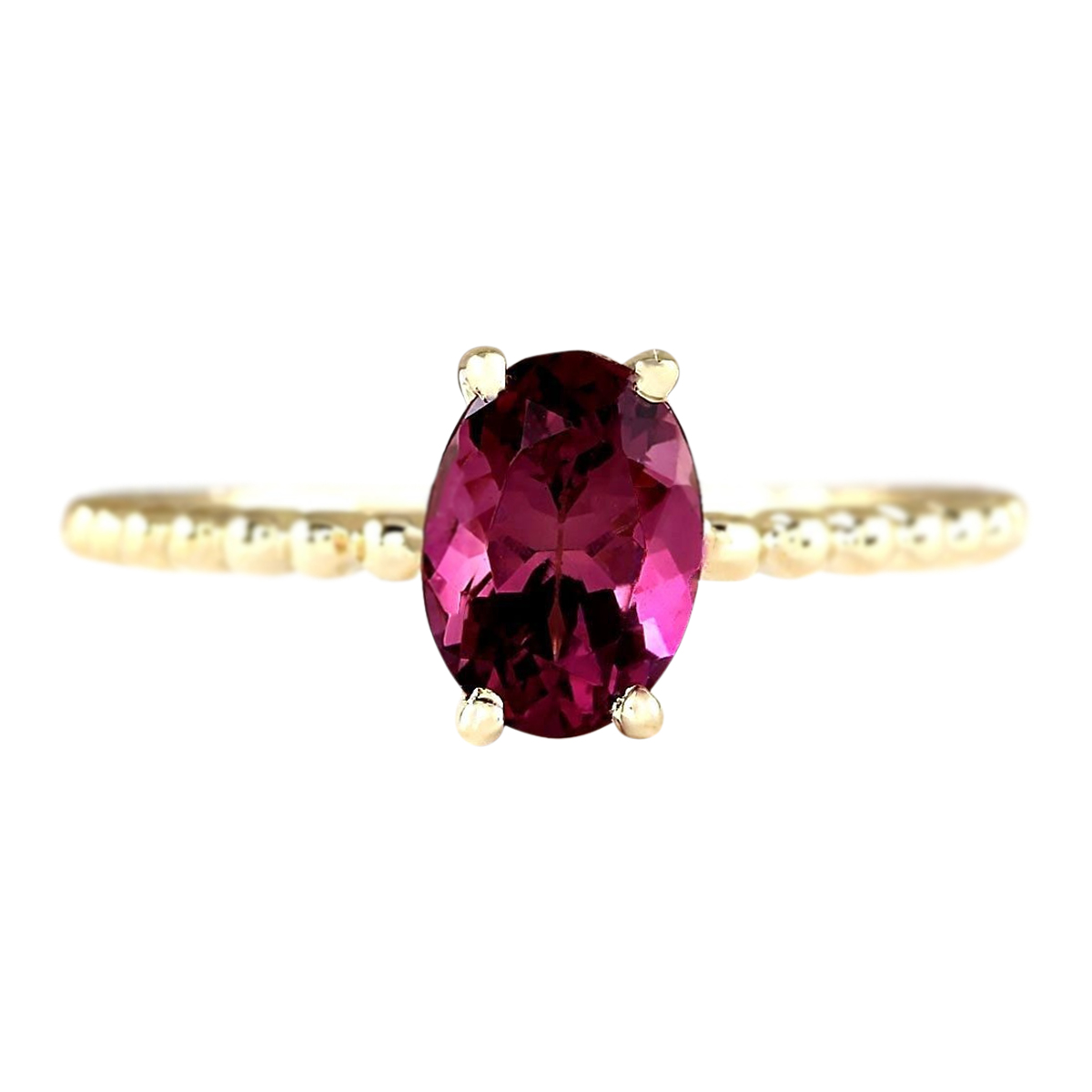 1.31 CTW Natural Pink Tourmaline Ring In 14k Yellow Gold by