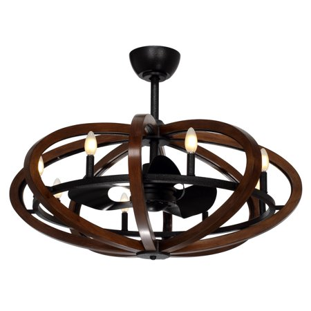 Indoor Ceiling Fans 8 Light Bulb Fixture With Antique Pecan and Anthracite Finish Steel+Wood Material CA Bulbs 36 inch 32 Watts
