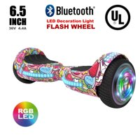 "Flash Wheel UL 2272 Certified Hoverboard 6.5"" Bluetooth Speaker with LED Light Self Balancing Wheel Electric Scooter - Unicorn"
