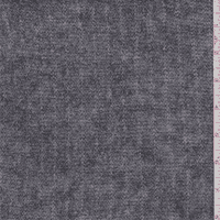 Heather Grey Wool Ribbed Sweater Knit, Fabric By the Yard