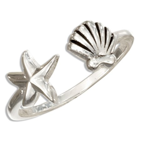 Sterling Silver Scallop Shell (STERLING SILVER OPEN RING WITH STARFISH AND SCALLOP)