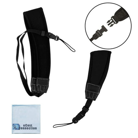 Neoprene Neck and Wrist Camera Strap Kit with Quick Release for Point & Shoot and Pocket Cameras + eCostConnection Microfiber