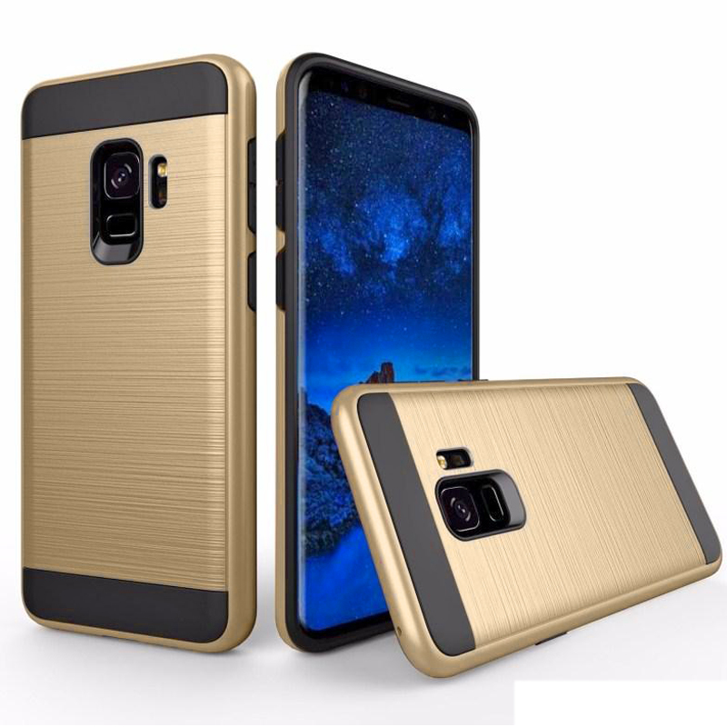 Samsung Galaxy S9 Shockproof Slim Fit Hybrid Dual Layer Protection Case with Brush Finish Back Cover