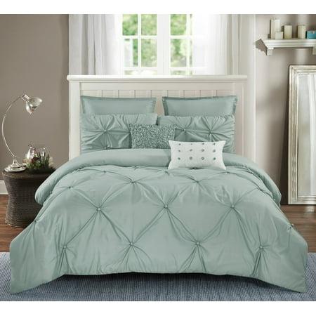 Wonder Home Harper 7PC Solid Comforter Set King Jade - King Jaffe