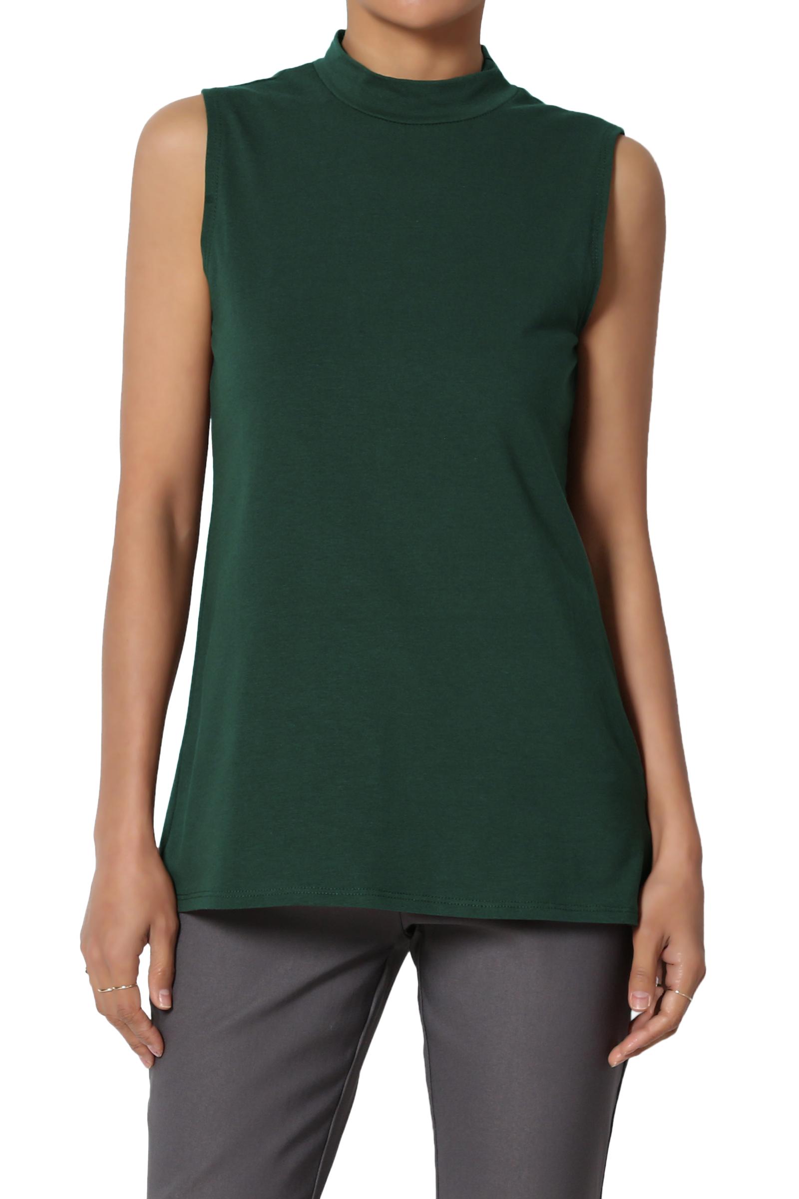 TheMogan Junior's PLUS Mock Neck Sleeveless T-Shirt Stretch Cotton Slim Fit Tank Top
