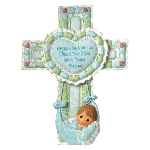 Precious Moments Precious Little Blessings Baby Boy Cross Figurine