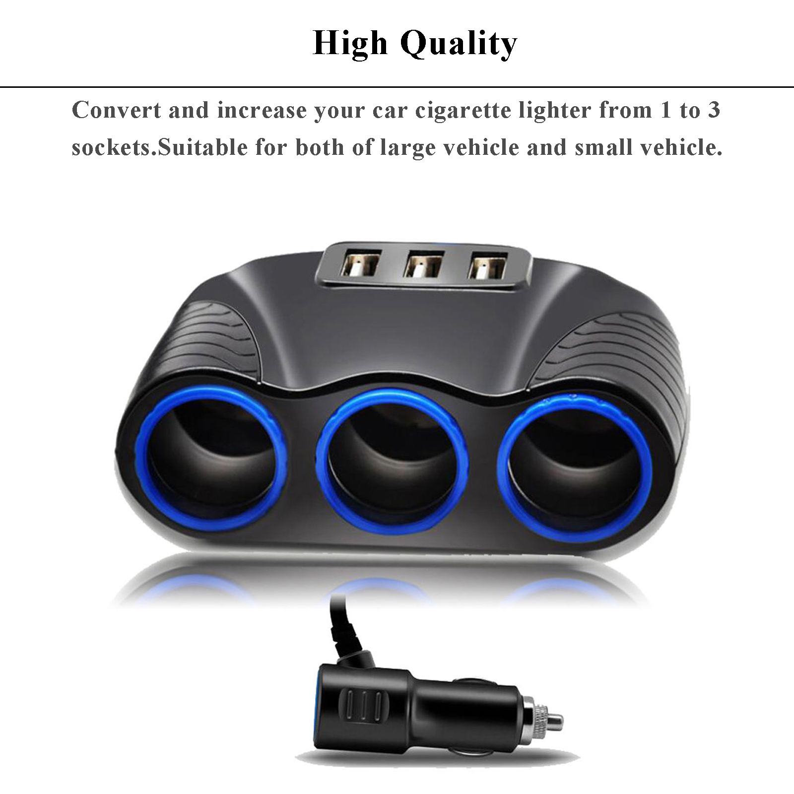 Eekit Automotive 3 Socket Car Cigarette Lighter Splitter With 2 Port Best New 12v 120w Power Outlet Plug Under 6 Usb Charger Adapter Dc For Iphon
