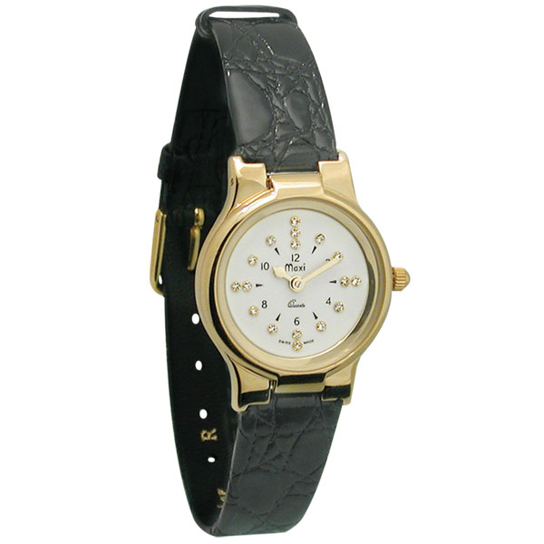 Ladies Gold-Tone President Quartz Braille Watch with Leat...