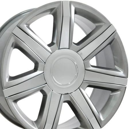 22x9 Wheel Fits GM Trucks & SUVs - Cadillac Escalade Style Hyper Silver Rim with Chrome Inserts, Hollander (2007 Cadillac Escalade Suv)