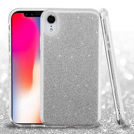 "Apple iPhone XR (6.1 Inch) Phone Case Slim HYBRID Bling Glitter Candy Silicone Rubber Gel Hard Protective Case Cover - Silver Glittering Phone Case for Apple iPhone Xr (6.1"")"