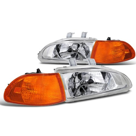 Spec-D Tuning Jdm Chrome 1992-1995 Honda Civic 4Dr Head Lights + Amber Corner Signal Lamps (Left + Right) 92 93 94 - 4dr Jdm Amber Corner