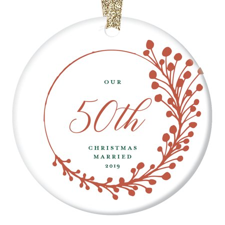 "50th Anniversary Christmas Ornament 2019 Fifty 50 Years Married Dated Keepsake Present Fiftieth Parents Grandparents Pretty Farmhouse Red Tree Decoration Glossy Ceramic 3"" Gold Ribbon OR00743-50 ()"